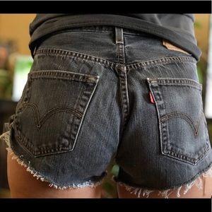 high waisted levi 501 denim shorts | vintage black